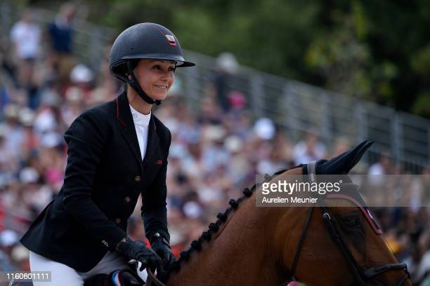 Georgina Bloomberg of The United States of America and Quibelle compete on day three of the Longines Paris Eiffel Jumping in the Champ de Mars on...