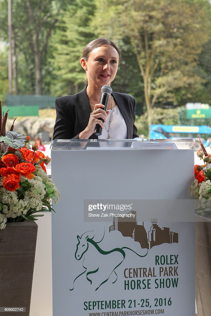 Georgina Bloomberg speaks at Third Annual Rolex Central Park Horse Show Kick Off at Wollman Rink Central Park on September 20, 2016 in New York City.