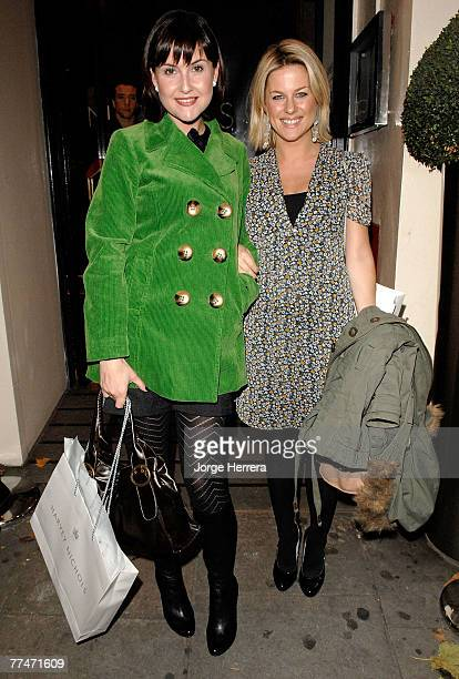 Georgina Bouzova and Liz Carling depart the Lisa Hoffman Bath And Shower Range Launch Party at Harvey Nichols on October 23 in London, England.