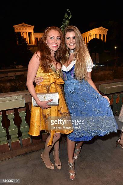 Georgina Buelowius and Linda Vaterl in the Kaeferschaenke beer tent during the Oktoberfest at Theresienwiese on September 23 2016 in Munich Germany