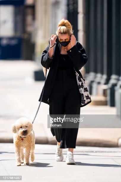 Georgina Burke is seen walking her dog in Tribeca on April 08, 2020 in New York City.