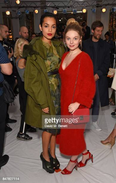 Georgina Campbell and Nell Hudson attend the Jasper Conran SS18 catwalk show during London Fashion Week September 2017 on September 16 2017 in London...
