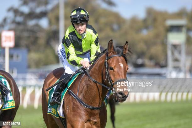 Georgina Cartwright returns to the mounting yard on Altro Mondo after winning the Geelong Homes Maiden Plate at Geelong Racecourse on August 09 2017...