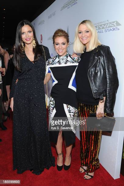 Georgina Chapman Alyssa Milano and Zanna Roberts Rossi attend sthe Project Runway All Stars Season 3 premiere party presented by The Weinstein...