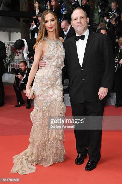 Georgina Chapman and Harvey Weinstein attend the 'Hands Of Stone' premiere during the 69th annual Cannes Film Festival at the Palais des Festivals on...