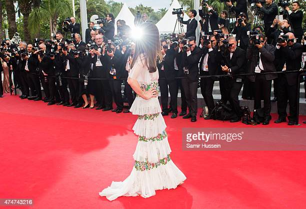 Georgina Chapman attends the closing ceremony and 'Le Glace Et Le Ciel' Premiere during the 68th annual Cannes Film Festival on May 24 2015 in Cannes...