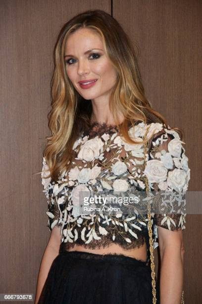 Georgina Chapman cofounder and creative director of Marchesa fashion at a dinner party hosted by filmmaker Mozez Singh during her trip to India as...