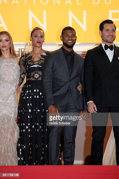 """Georgina Chapman, Grace Miguel, Usher and Edgar Ramirez attend the """"Hands Of Stone"""" premiere during the 69th annual Cannes Film Festival at the..."""