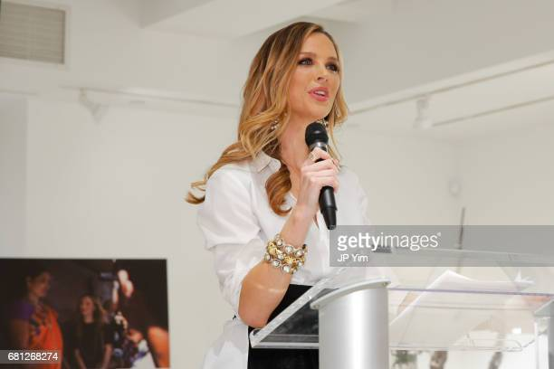 Georgina Chapman speaks at 'A Magic Bus Cocktail Party' at DAG Modern on May 9 2017 in New York City