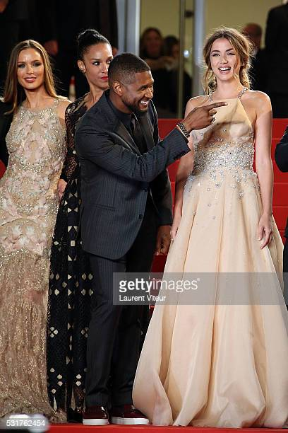 Georgina Chapman Usher and his wife Grace Miguel and Ana de Armas attend the 'Hands Of Stone' premiere during the 69th annual Cannes Film Festival at...
