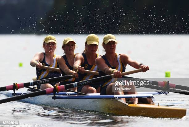 Georgina Craigie, Kathryn Chandler, Charlotte Warner and Eve Macfarlane from Rangi Ruru Girls High School compete in the Girls U18 Novice Coxed Four...
