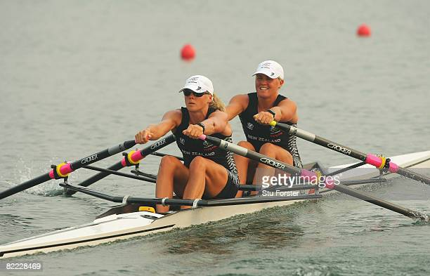 Georgina Evers-Swindell and Caroline Evers-Swindell of New Zealand compete in the Women's Double Sculls Heat 1 at Shunyi Olympic Rowing-Canoeing Park...