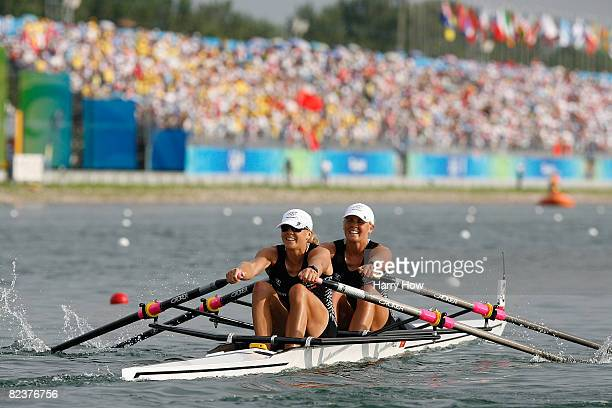 Georgina Evers-Swindell and Caroline Evers-Swindell of New Zealand compete in the Women's Double Sculls Final at the Shunyi Olympic Rowing-Canoeing...