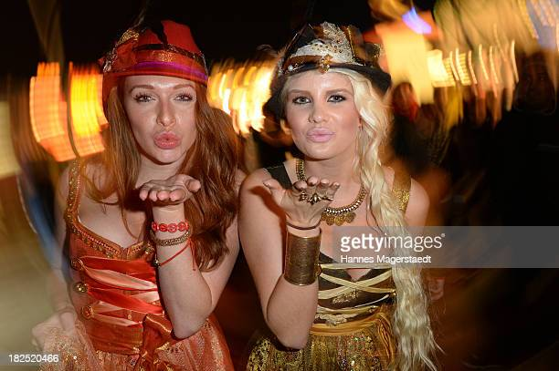 Georgina Fleur and Linda Barbie attend the Natascha Gruen Wiesn at Haxenbraterei during the Oktoberfest at Theresienwiese on September 29 2013 in...