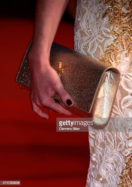 Georgina Fleur bag detail attends the Premiere of 'Nie Yinniang' during the 68th annual Cannes Film Festival on May 21 2015 in Cannes France