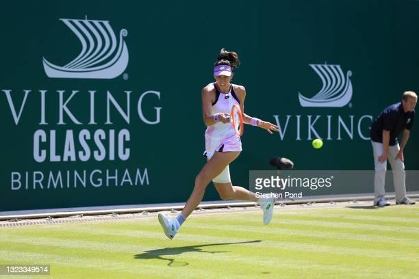 Georgina Garcia Perez of Spain in action against Tereza Martincova of Czech Republic in qualifying during the Viking Classic Birmingham at Edgbaston...