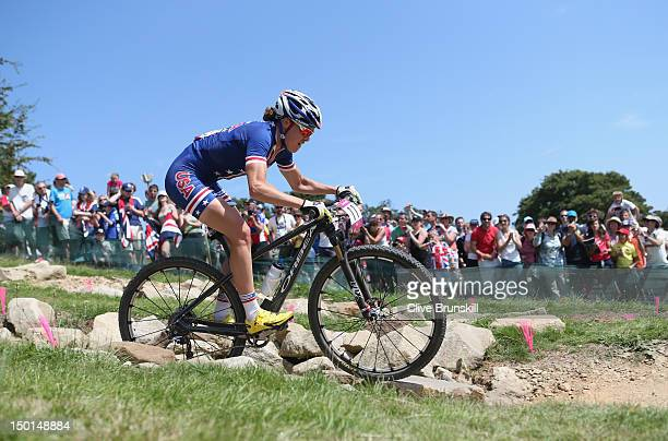 Georgina Gould of the United States during the Women's Crosscountry Mountain Bike race on Day 15 of the London 2012 Olympic Games at at Hadleigh Farm...