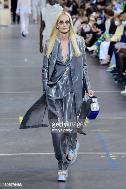 Georgina Grenville walks the runway during the Off-White Fall/Winter 2021/2022 show as part of Paris Fashion Week on July 04, 2021 in Paris, France.