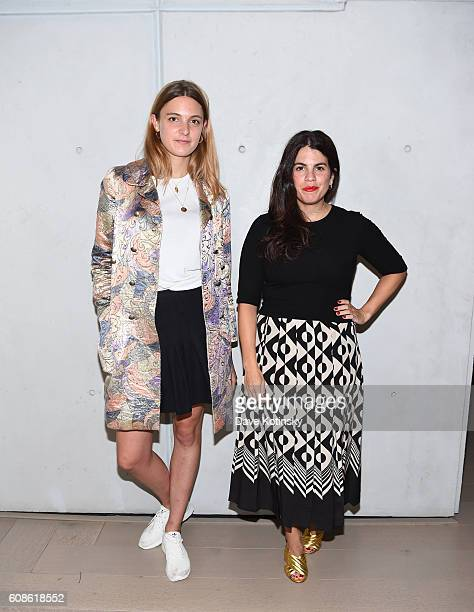 "Georgina Harding and Fernanda Abdalla attend the Daniel Arsham ""Colorblind Artist: In Full Color"" at Spring Place on September 19, 2016 in New York..."