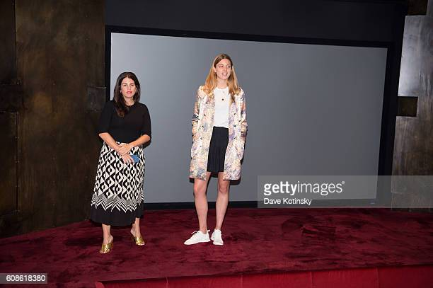 "Georgina Harding and Fernanda Abdalla speak at the Daniel Arsham ""Colorblind Artist: In Full Color"" at Spring Place on September 19, 2016 in New York..."