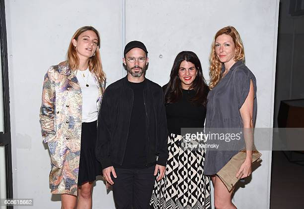 "Georgina Harding, Daniel Arsham, Fernanda Abdalla and Megan Raney Erins attend the Daniel Arsham ""Colorblind Artist: In Full Color"" at Spring Place..."