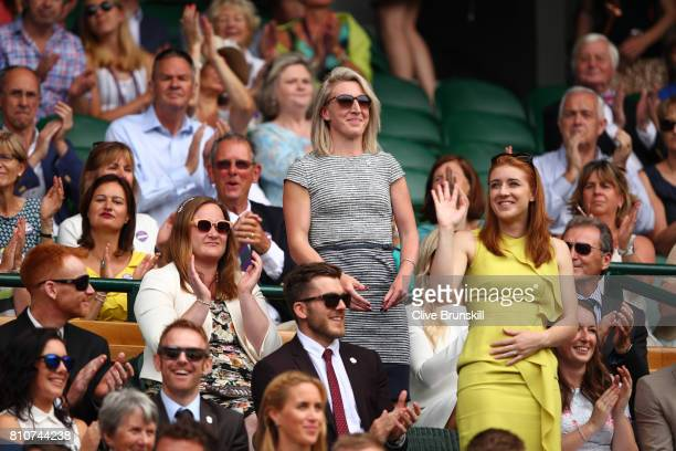 Georgina Hermitage and Libby Clegg are introduced to the crowd from the centre court royal box on day six of the Wimbledon Lawn Tennis Championships...