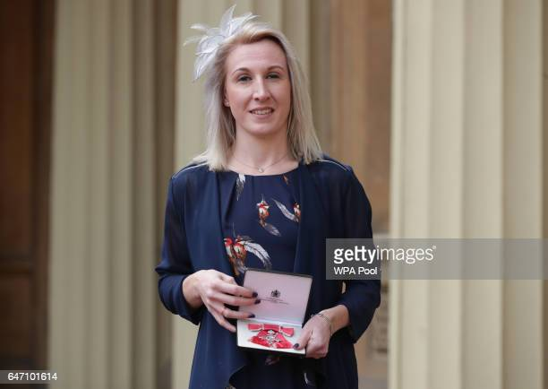 Georgina Hermitage at Buckingham Palace in London after receiving her Member of the Order of the British Empire medal from the Duke of Cambridge in...