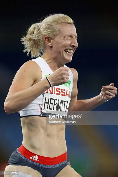 Georgina Hermitage of Great Britain celebrates after winning the women's 100 meter T37 on day 2 of the Rio 2016 Paralympic Games at on September 9...