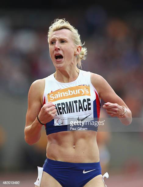 Georgina Hermitage of Great Britain celebrates winning the Women's 400m T37 race and breaking the World Record during day three of the Sainsbury's...