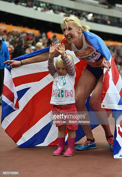 Georgina Hermitage of Great Britain celebrates winning the Womens 400m T37 with her daughter during the IPC Grand Prix Final on Day 3 of the...
