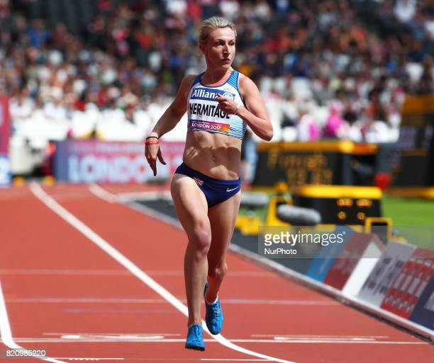 Georgina Hermitage of Great Britain competing Women's 100m T37 Round 1 Heat 1 during World Para Athletics Championships at London Stadium in London...
