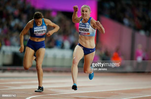 Georgina Hermitage of Great Britain winning gold in the women's 100m T37 final during the World Para Athletics Championships 2017 at the Olympic...