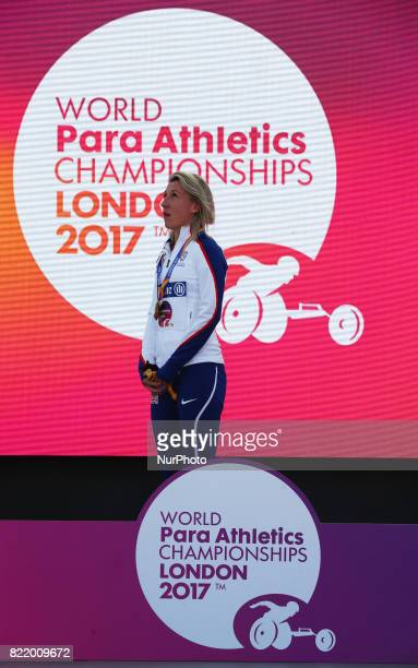Georgina Hermitage of Great Britain Women's 400m T37 during World Para Athletics Championships at London Stadium in London on July 21 2017