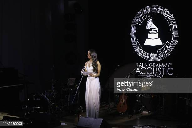 Georgina Holguin speaks on stage during the Latin Grammy Acoustic Session Mexico at Soumaya museum on May 22 2019 in Mexico City Mexico