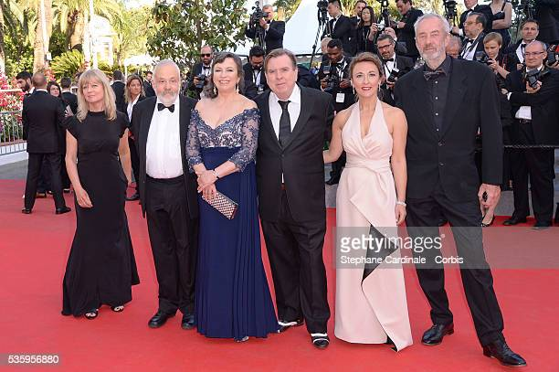 Georgina Lowe Mike Leigh Marion Bailey Timothy Spall Dorothy Atkinson and Dick Pope attends the 'Mr Turner' premiere during the 67th Cannes Film...