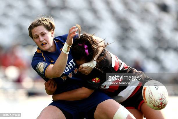 Georgina McCullough of Otago is tackled during the round four Farah Palmer Cup match between Otago and Counties Manukau at Forsyth Barr Stadium on...