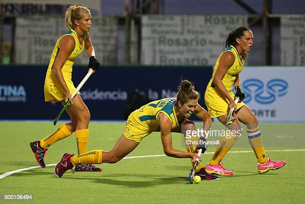 Georgina Morgan of Australia scores their first goal from a penalty corner during the Pool B match between Australia and China on day one of the...