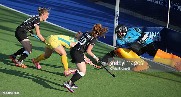 Georgina Nanscawen of Australia scores the first goal during the quarter final match between Australia and Germany on day 6 of the Hockey World...