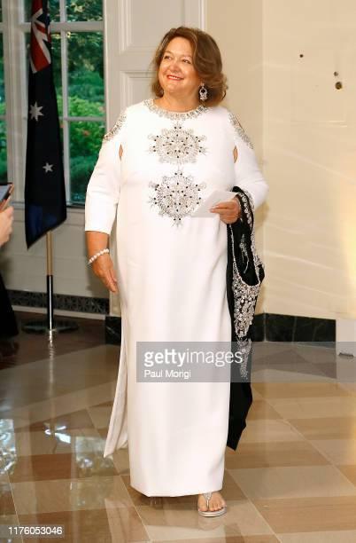 Georgina Rinehart arrives for the State Dinner at The White House honoring Australian PM Morrison on September 20 2019 in Washington DC Prime...