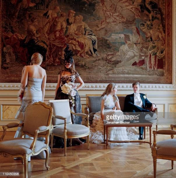 Georgina Robertson, Carinthia Pearson, Angelica Hicks and Honorable William Pelham are photographed at the Hotel Crillon for Tatler Magazine on...