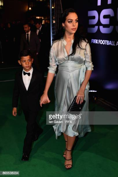 Georgina Rodríguez and Cristiano Ronaldo Jr arrives on the green carpet for The Best FIFA Football Awards at The London Palladium on October 23 2017...