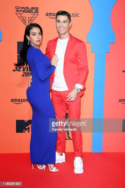 Georgina Rodriguez and Cristiano Ronaldo attend the MTV EMAs 2019 at FIBES Conference and Exhibition Centre on November 03 2019 in Seville Spain