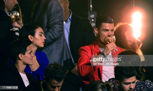 Georgina Rodriguez and Cristiano Ronaldo in the audience during the MTV Europe Music Awards 2019, held at the FIBES Conference & Exhibition Centre of...
