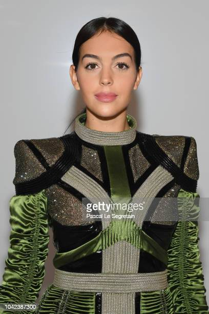 Georgina Rodriguez attends the Balmain show as part of the Paris Fashion Week Womenswear Spring/Summer 2019 on September 28 2018 in Paris France