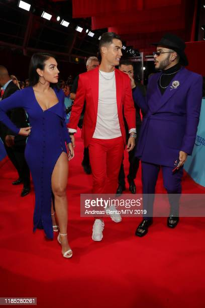 Georgina Rodriguez Cristiano Ronaldo and Hugo Gloss attend the MTV EMAs 2019 at FIBES Conference and Exhibition Centre on November 03 2019 in Seville...
