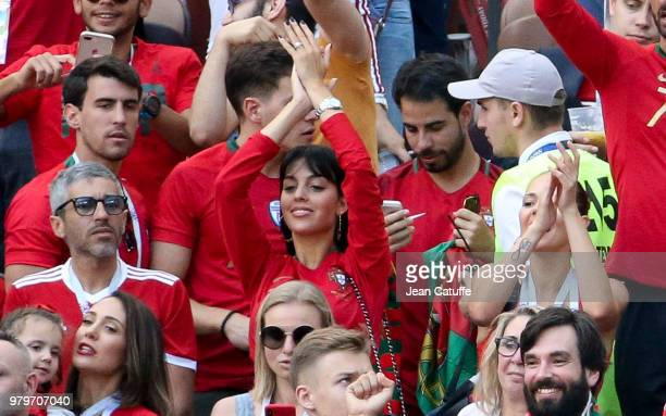 Georgina Rodriguez girlfriend of Cristiano Ronaldo of Portugal wearing a new ring during the 2018 FIFA World Cup Russia group B match between...