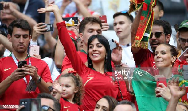 Georgina Rodriguez girlfriend of Cristiano Ronaldo of Portugal during the 2018 FIFA World Cup Russia group B match between Portugal and Morocco at...