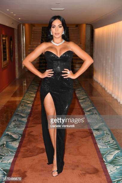 Georgina Rodriguez is seen arriving at the 77th Venice Film Festival on September 03 2020 in Venice Italy