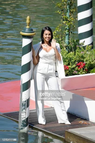 Georgina Rodriguez is seen arriving at the Excelsior during the 77th Venice Film Festival on September 03, 2020 in Venice, Italy.
