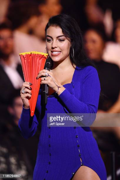 Georgina Rodriguez presents the Best Collaboration Award on stage during the MTV EMAs 2019 at FIBES Conference and Exhibition Centre on November 03...